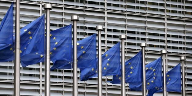File picture shows European Union flags fluttering outside the EU Commission headquarters in Brussels